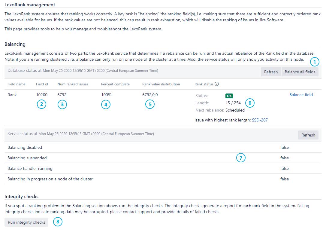 Screenshot showing Jira's LexoRank management page